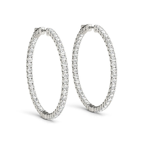 One & Three Quarter Inch Diamond Hoops Earrings