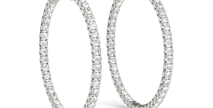 One & Three Quarter Inch Diamond Hoops Earrings