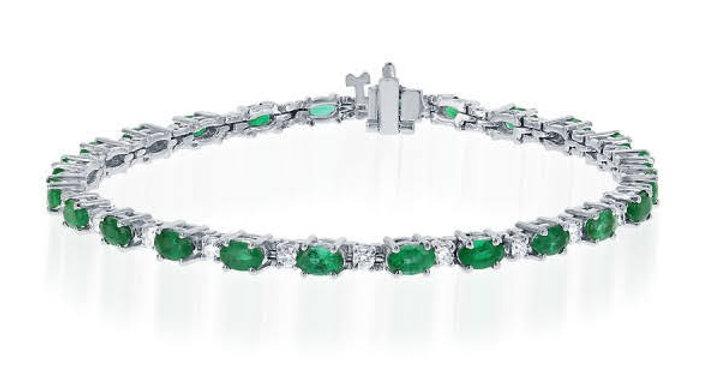 DFJ Oval Cut Emerald & Diamond Bracelet