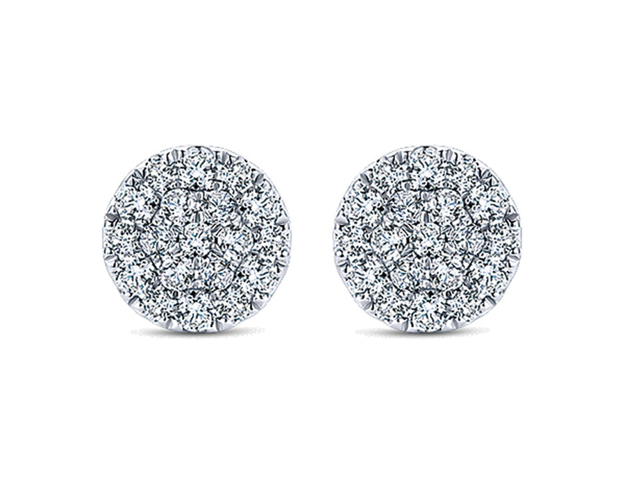 Gabriel & Co.- Round Pave Disc Earrings