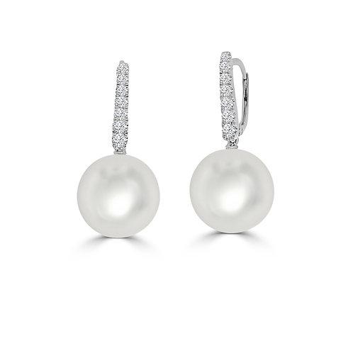 South Sea Pearl & Diamond Stud Earrings