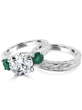 Diamond and Emerald Engagement Ring with