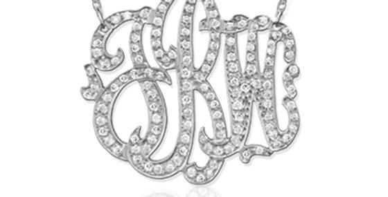 Jane Basch - Diamond Freeform Script Monogram Necklace