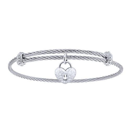 Gabriel & Co.- Heart Charm Cable Bracelet
