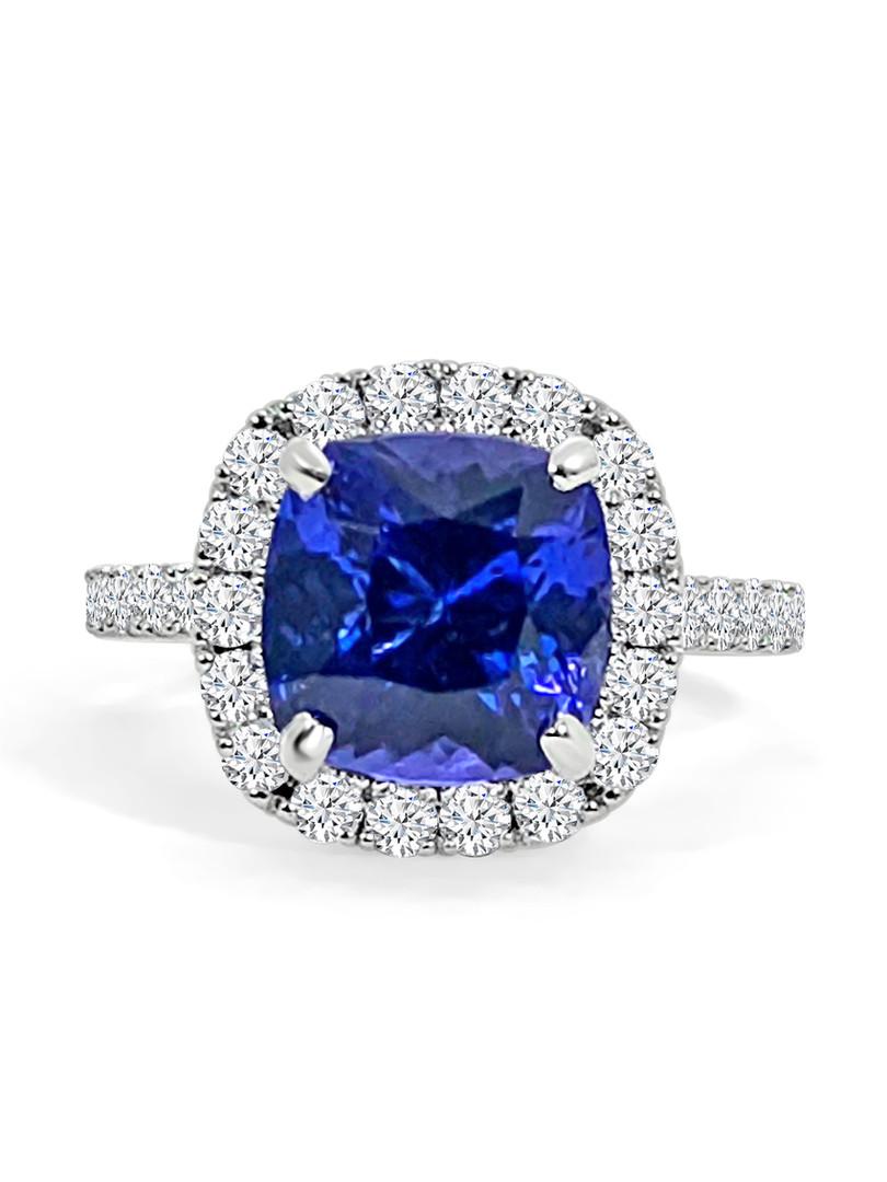 Tanzanite Diamond Halo Engagement Ring.J