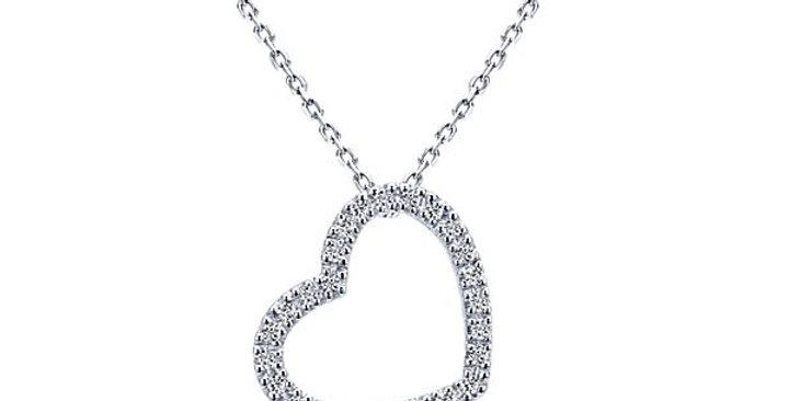 Gabriel & Co. - Sideways Diamond Heart Necklace