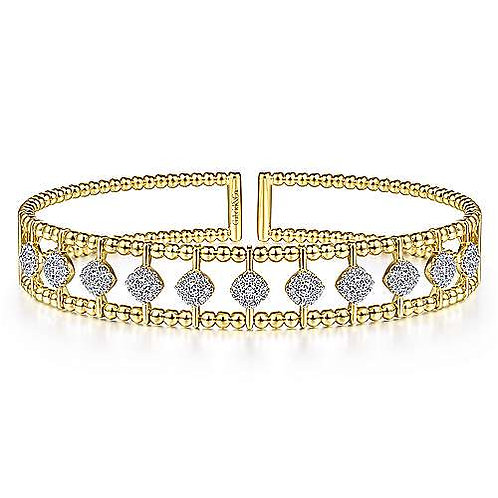 Gabriel & Co - Bujukan Bead Pave Diamond Cuff Bracelet