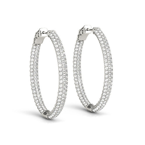 Pavé Oval Hoop Earrings in White Gold