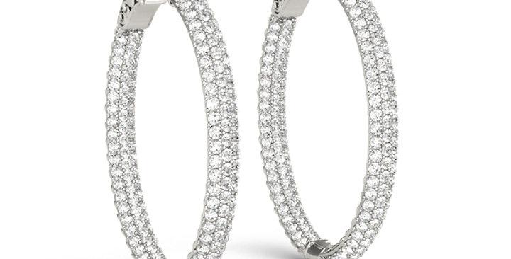 Pavé Oval Hoop Earrings in White Gold