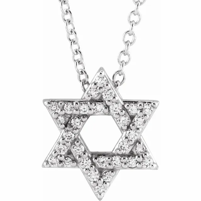 diamond star of David necklace white gold religious jewelry