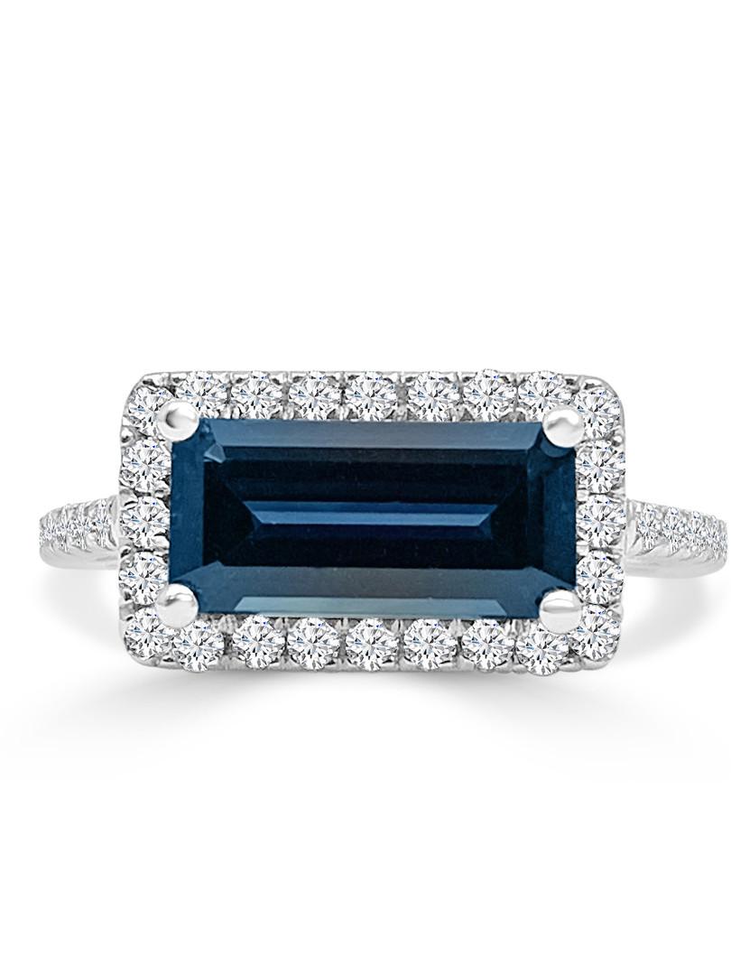 Emerald Cut Blue Sapphire Diamond Halo R