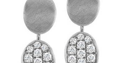 2-in-1 Modern Brushed White Gold and Diamond Earrings