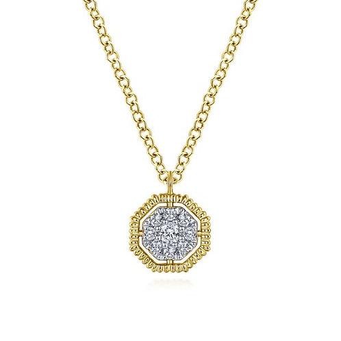 Gabriel & Co - Octagonal Pavé Diamond Necklace