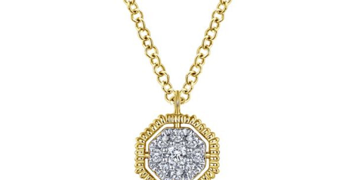 Gabriel & Co - Octagonal Pavé Diamond Necklace