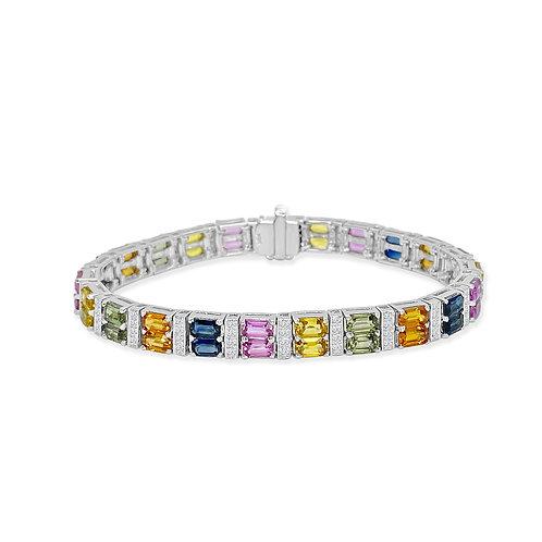 Multi-Colored Sapphire and Diamond Bracelet