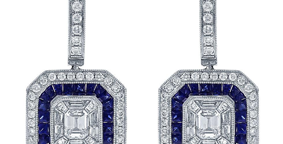DFJ Vintage Inspired Diamond & Gemstone Earrings