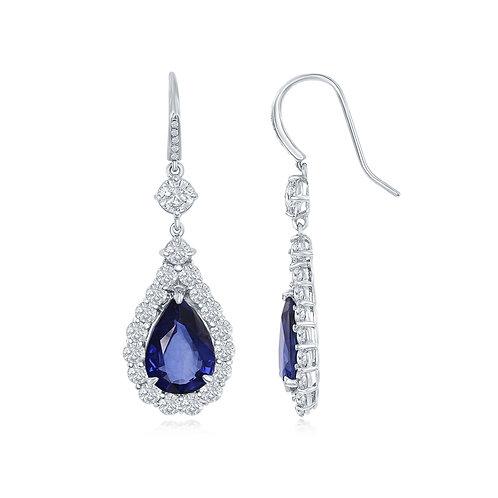 DFJ Pear-Shaped Sapphire & Diamond Drop Earrings