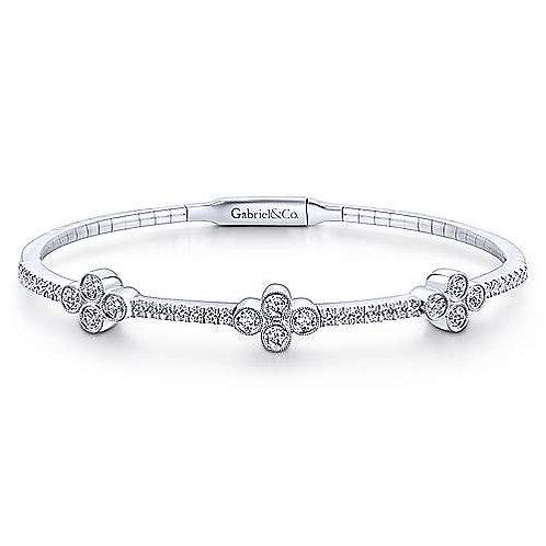 Gabriel & Co.- Diamond Clover Bangle Bracelet