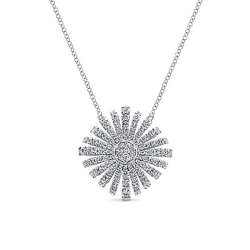 White Gold Diamond Starburst Necklace