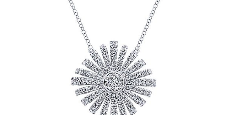 White Gold Diamond Starburst Necklace