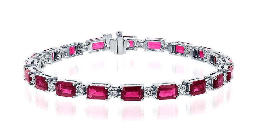 DFJ Emerald-Cut Ruby & Diamond Bracelet