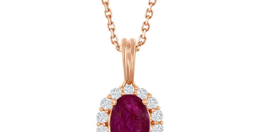 Jewels by Jacob Oval Ruby & Diamond Halo Necklace