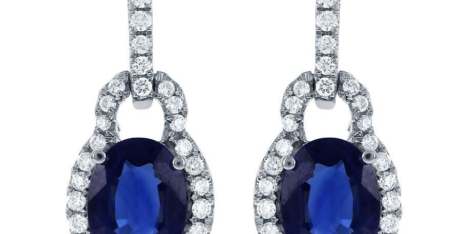 Jewels by Jacob Oval Sapphire & Diamond Dangle Earrings