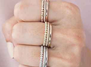 White gold stackable rose gold stackable yellow gold stackable