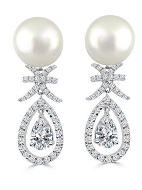 Pear Shaped Diamond and Pearl Danlge Ear