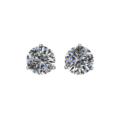 Diamond Stud Earrings - Three Prong Martini