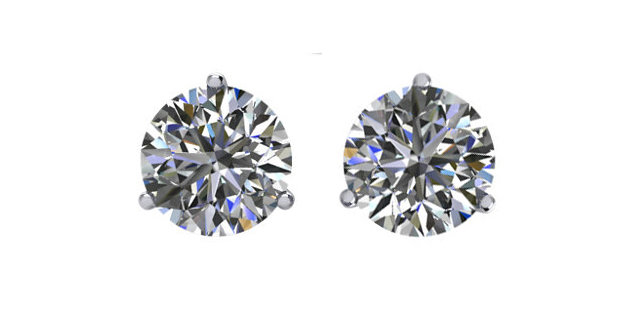 Diamond Stud Earrings - Three Prong Martini