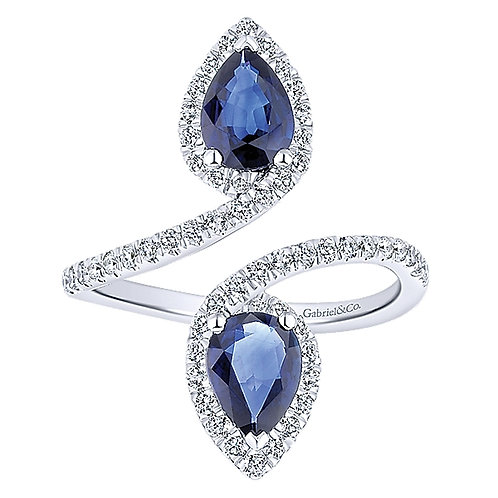 Gabriel & Co. - North South Pear Shaped Sapphire and Diamond Ring