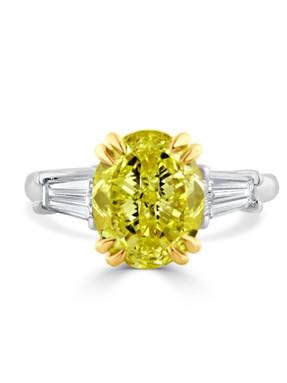 Yellow Diamond Two Tone Engagement Ring.