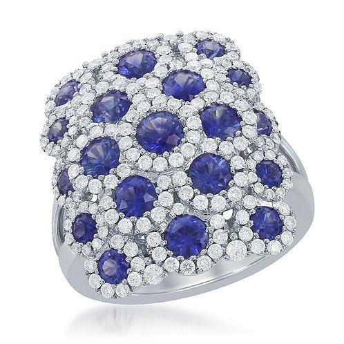 DFJ Sapphire & Diamond Shield Ring