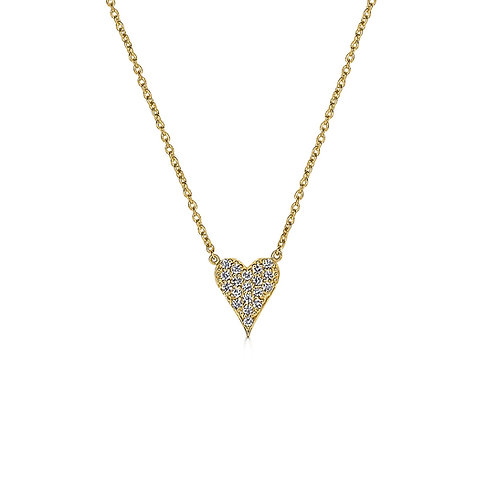 Mini Elongated Pave Diamond Heart Necklace