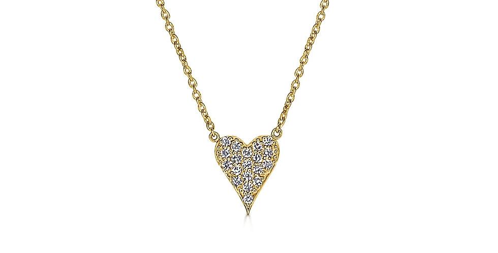 Mini Elongated Pave Diamond Heart Necklace