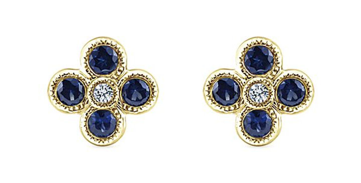 Gabriel & Co.- Sapphire Clover Earrings