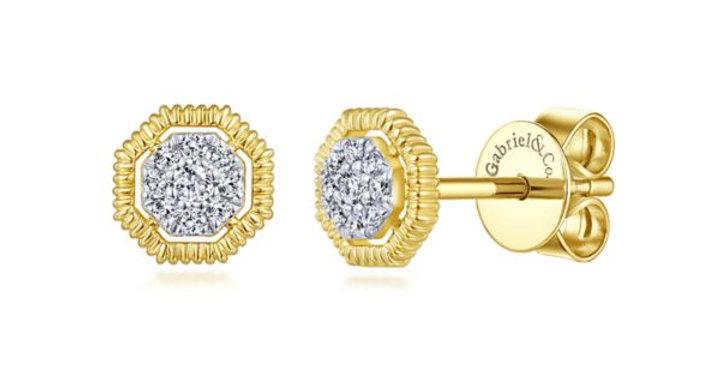 Gabriel & Co - Octagonal Pavé Diamond Stud Earrings