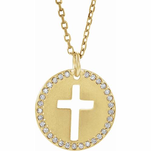 Diamond Disc & Cross Cut Out Charm Necklace