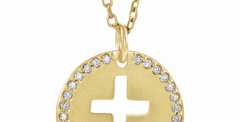Diamond Disc & Cross Cut Out Charm Necklace