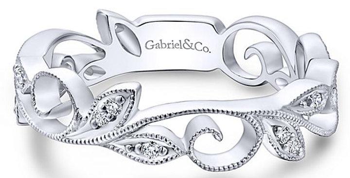Gabriel & Co. - Antique Floral Diamond Band
