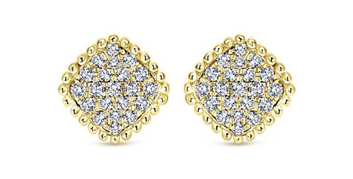 Geometric Pave Diamond Beaded Earrings