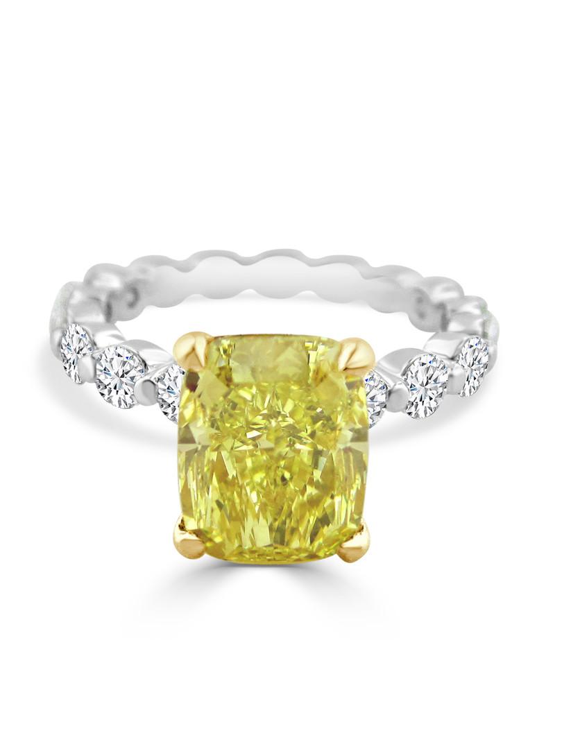 Cushion Cut Yellow Diamond Two Tone Enga