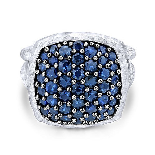 Gabriel & Co. - Sapphire Hammered Ring