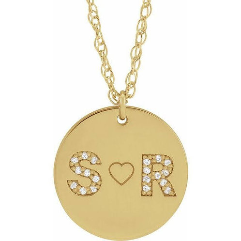 Double Initial Diamond Disc Necklace
