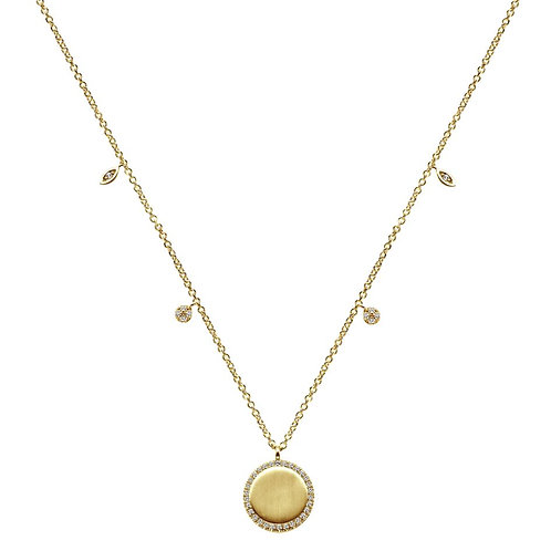 Gabriel & Co. - Round Satin Disc Diamond Necklace