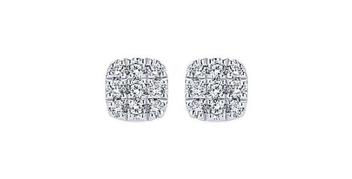 Gabriel & Co.- Cushion Shaped Pave Diamond Earrings
