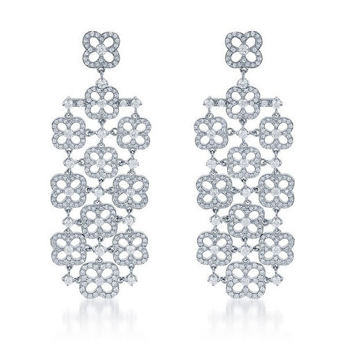 DFJ Waterfall Geometic Diamond Earrings