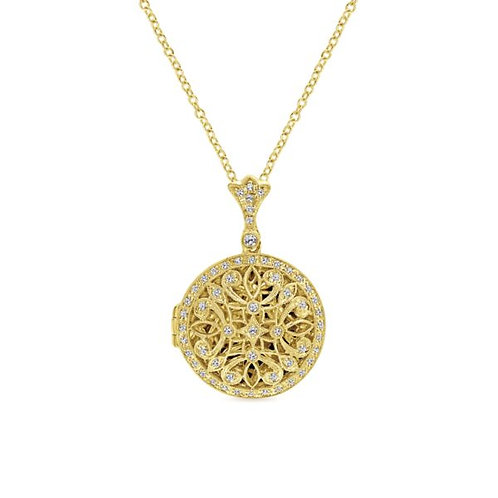 Gabriel & Co - Vintage Inspired Diamond Locket