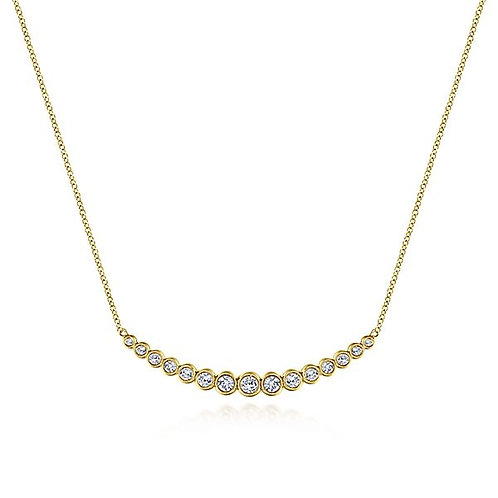 Gabriel & Co. - Bezel Set Curved Diamond Necklace